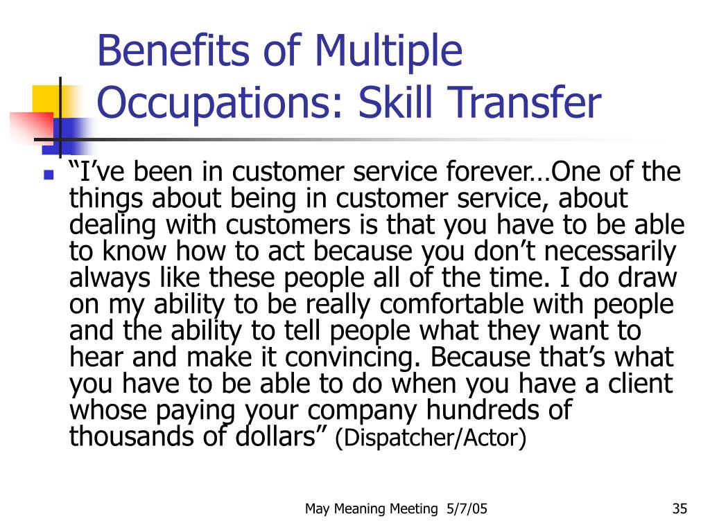 Benefits of Multiple Occupations: Skill Transfer