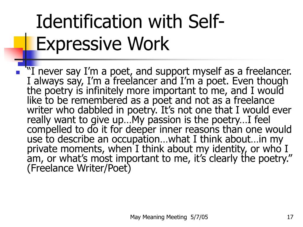 Identification with Self- Expressive Work