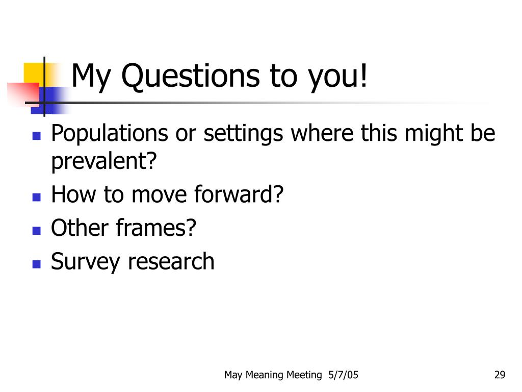 My Questions to you!