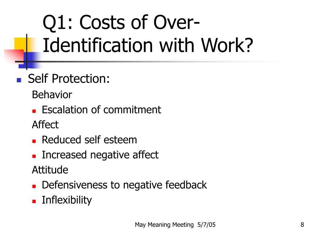 Q1: Costs of Over-Identification with Work?