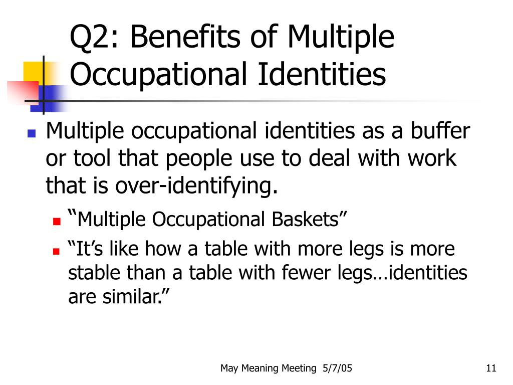 Q2: Benefits of Multiple Occupational Identities
