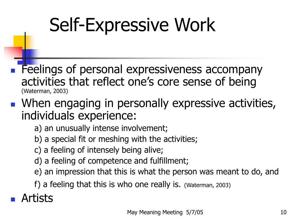 Self-Expressive Work