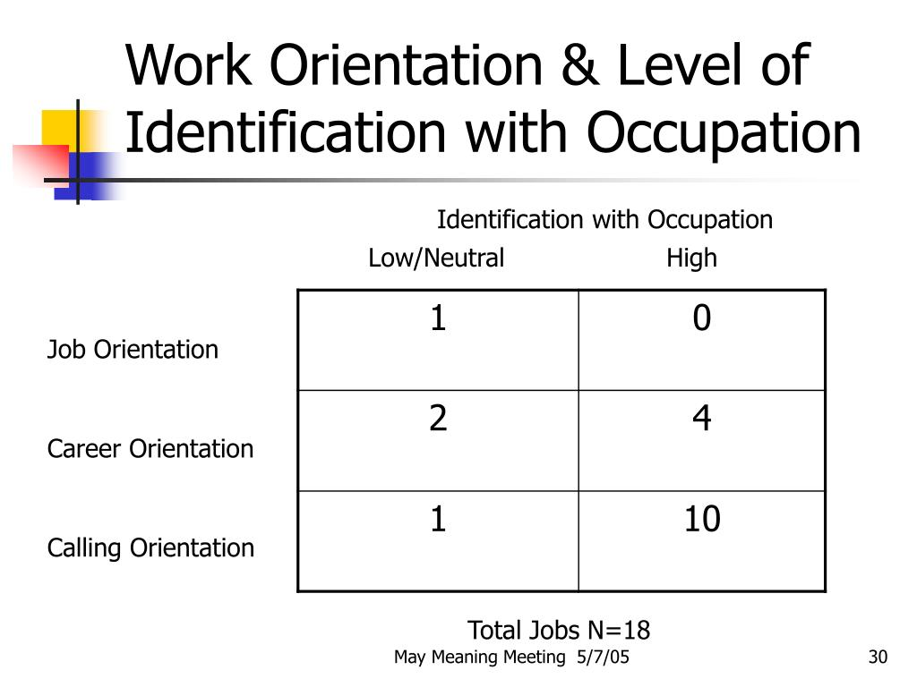 Work Orientation & Level of Identification with Occupation