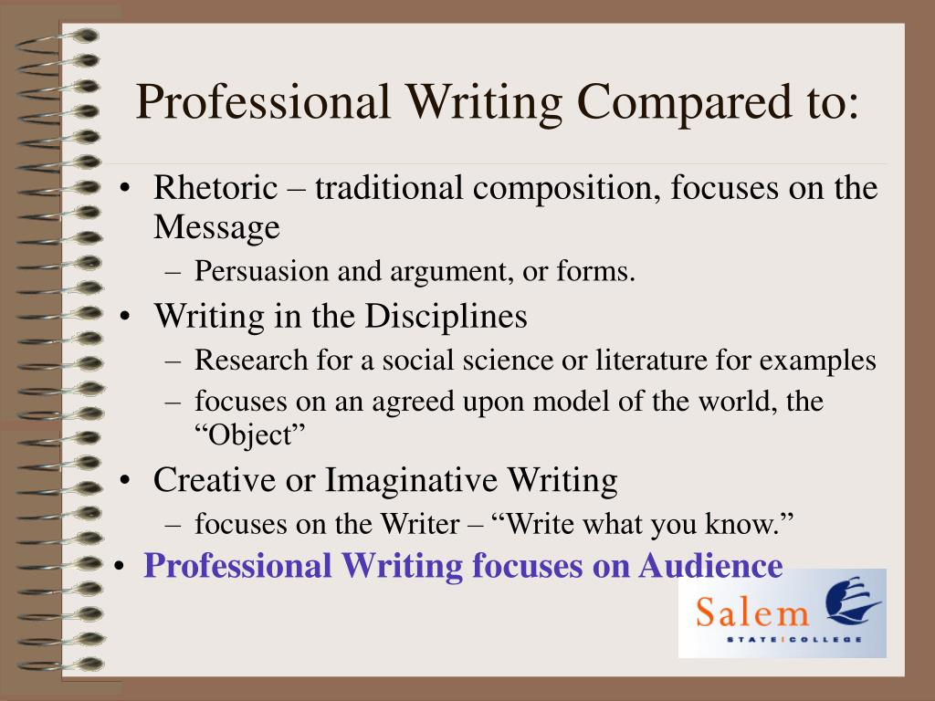Professional Writing Compared to: