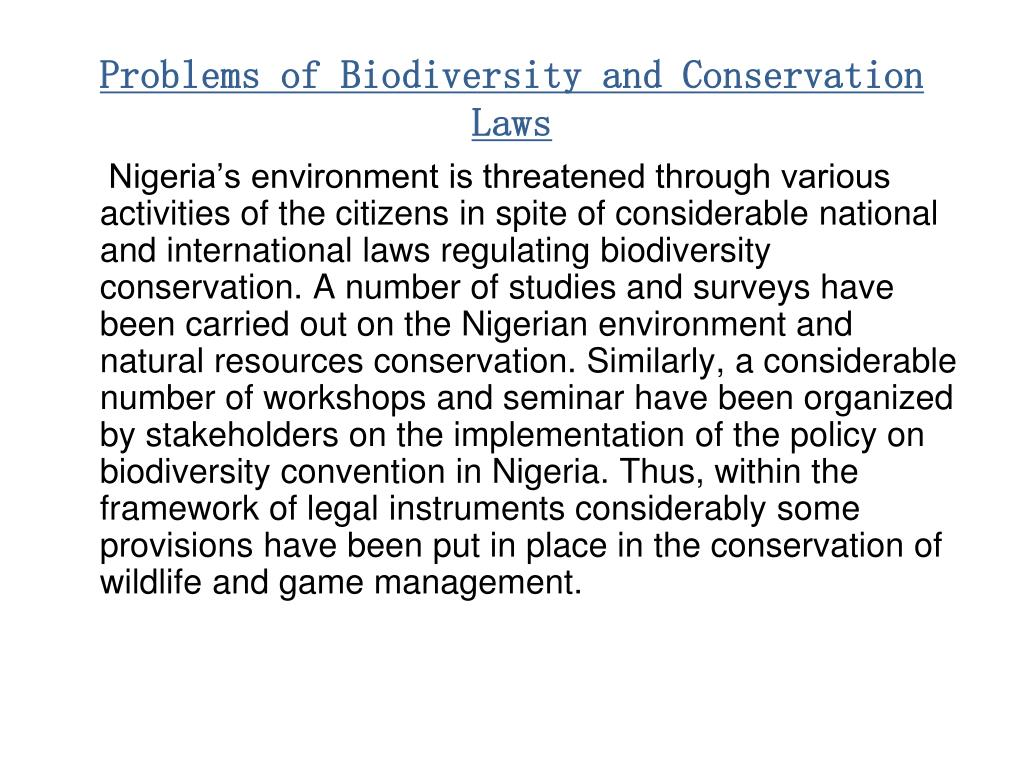 Problems of Biodiversity and Conservation Laws