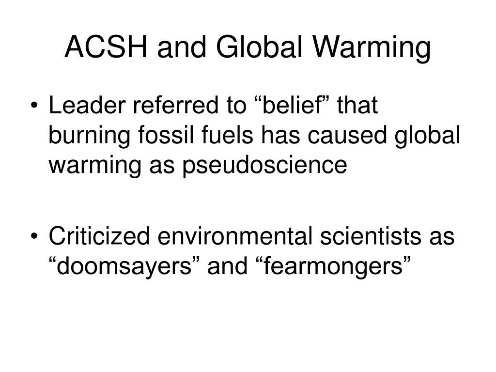 ACSH and Global Warming