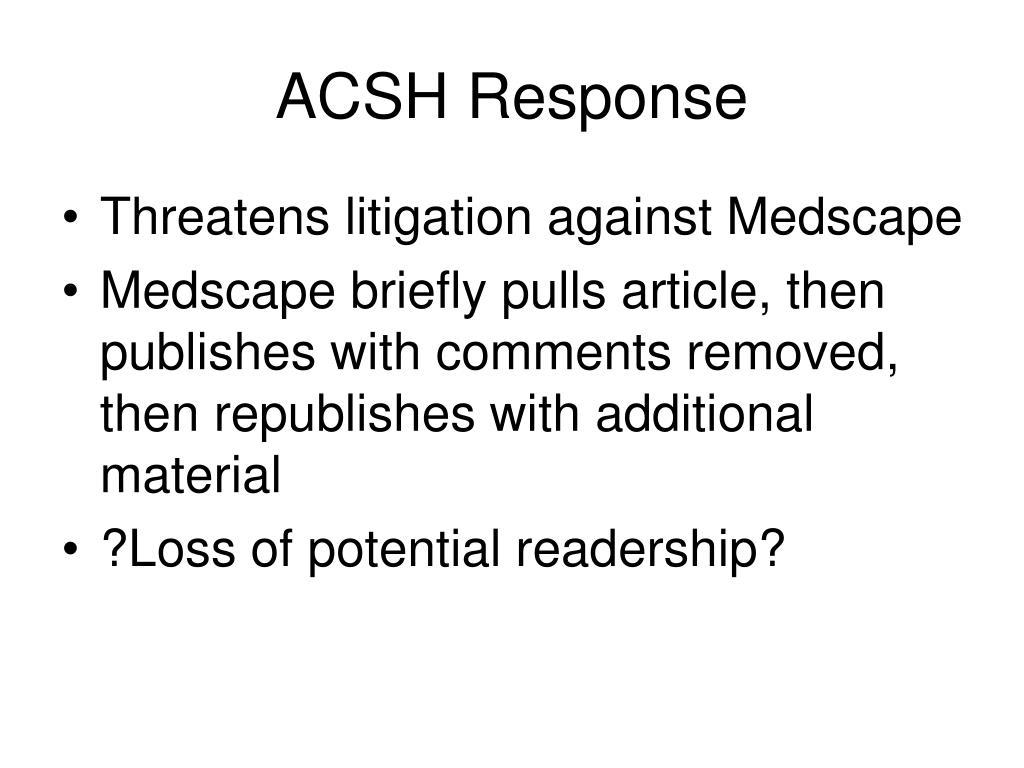 ACSH Response