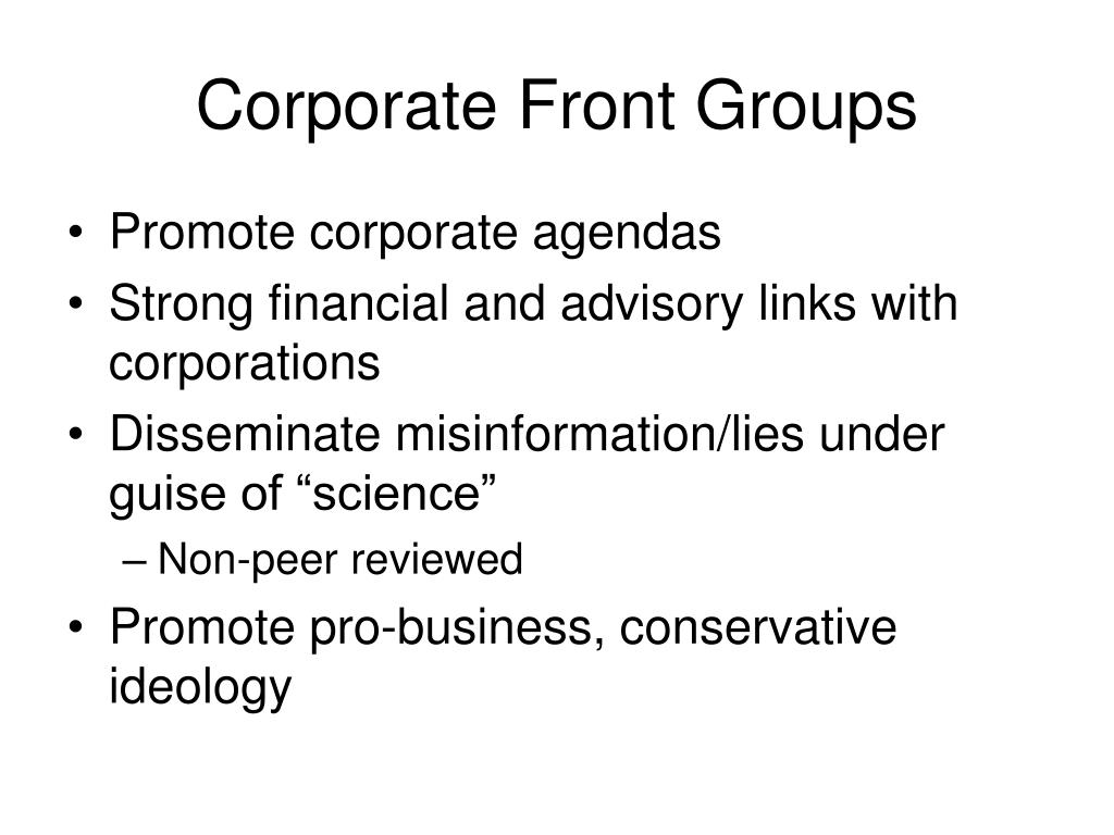 Corporate Front Groups