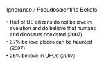ignorance pseudoscientific beliefs