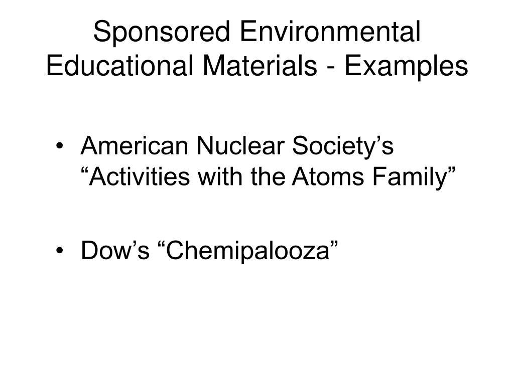 Sponsored Environmental Educational Materials - Examples