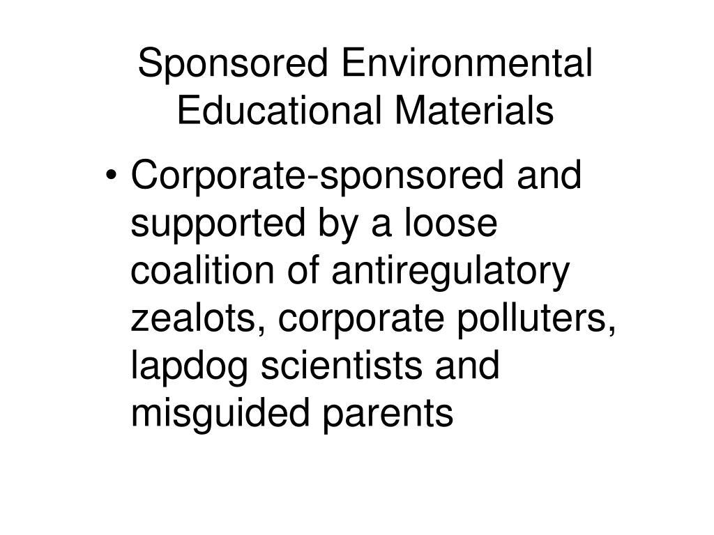 Sponsored Environmental Educational Materials