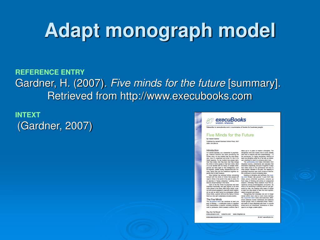 Adapt monograph model