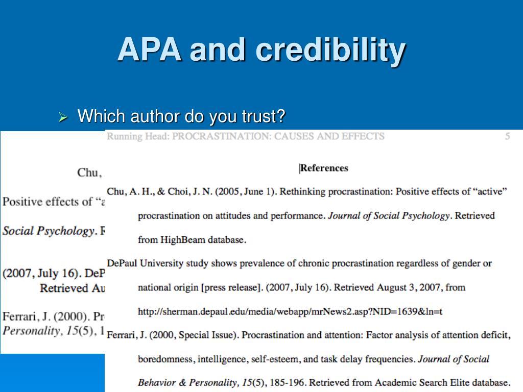APA and credibility