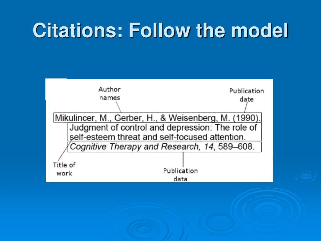 Citations: Follow the model
