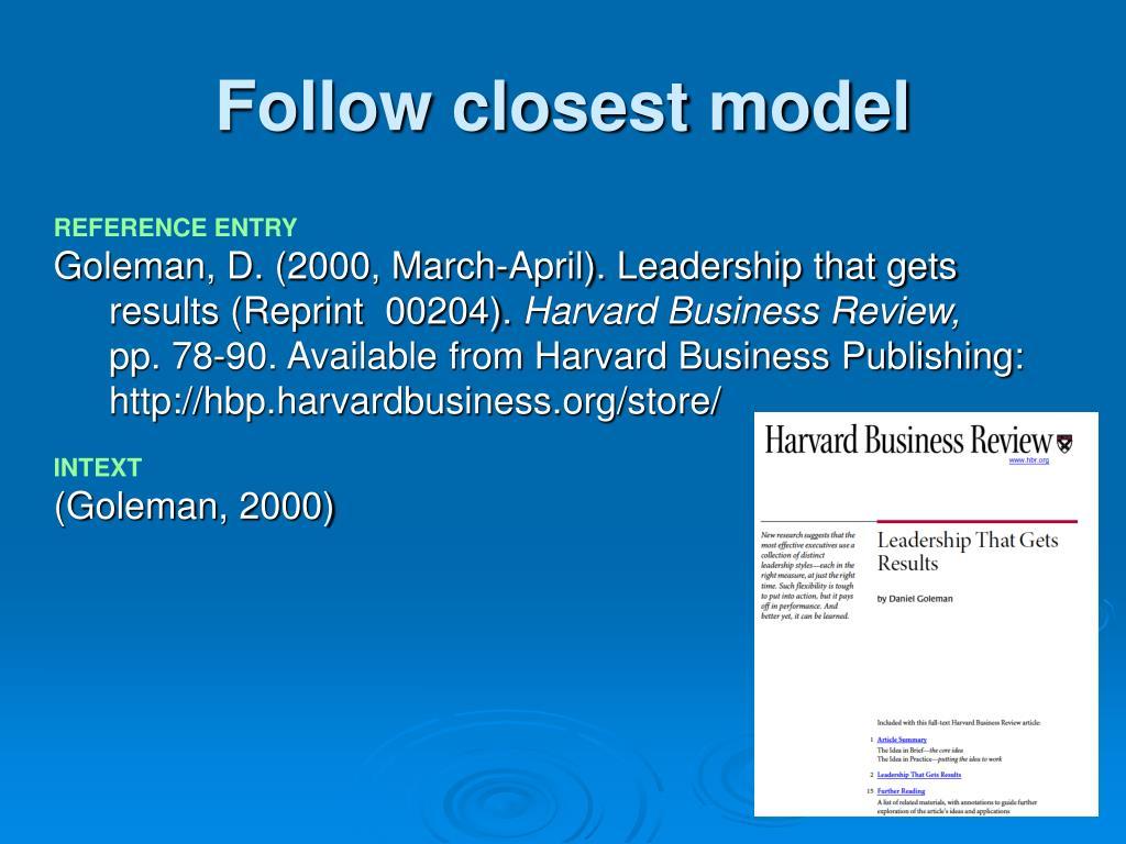 Follow closest model