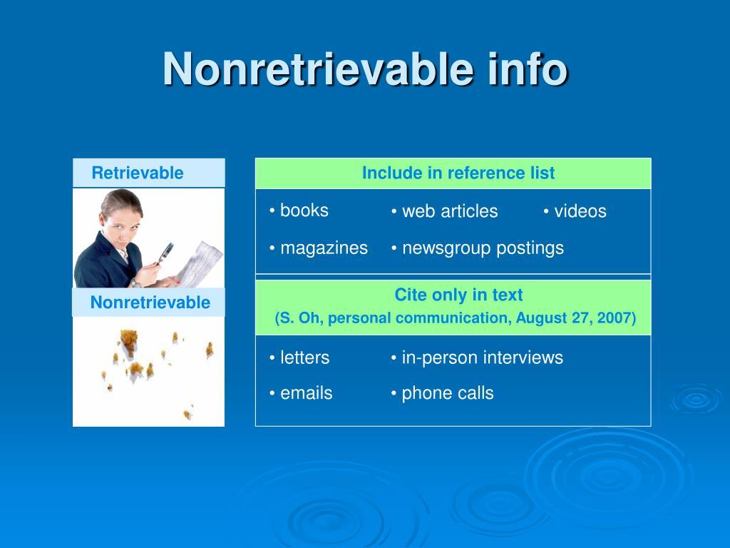 Nonretrievable info