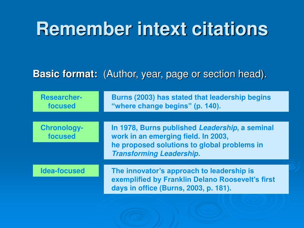 Remember intext citations
