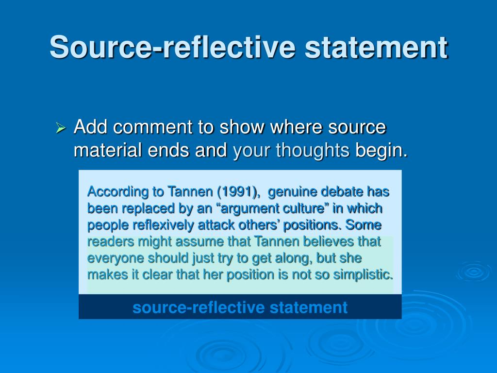 Source-reflective statement