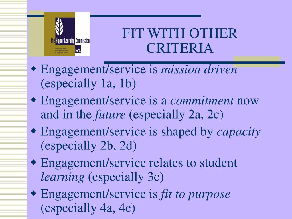 FIT WITH OTHER CRITERIA