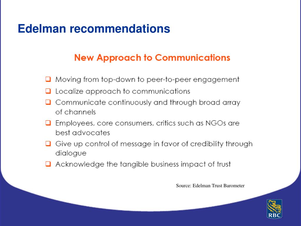 Edelman recommendations