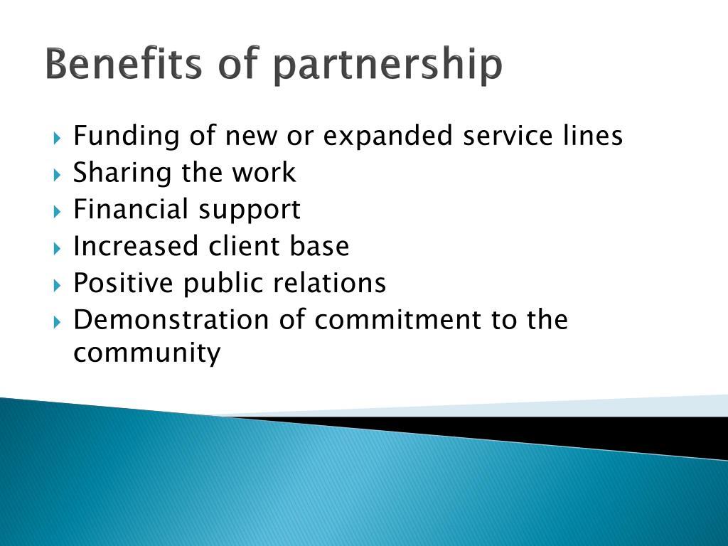 Benefits of partnership