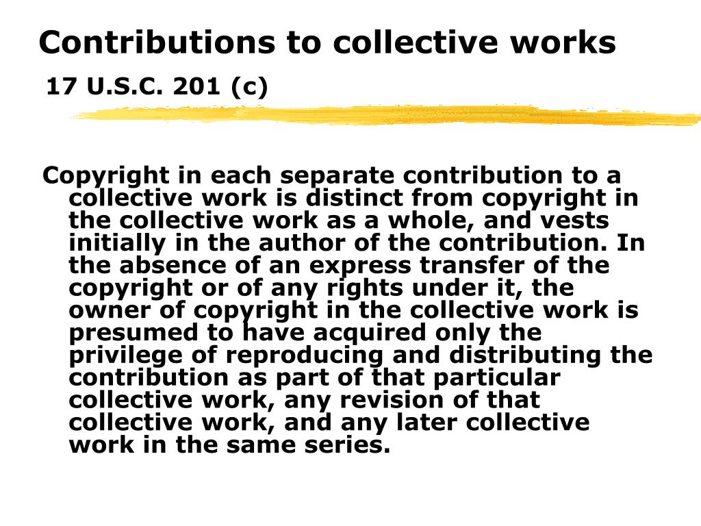 Contributions to collective works