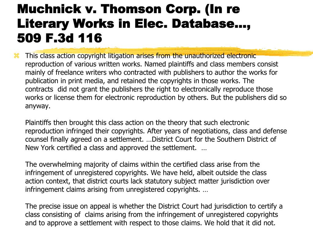 Muchnick v. Thomson Corp. (In re Literary Works in Elec. Database..., 509 F.3d 116