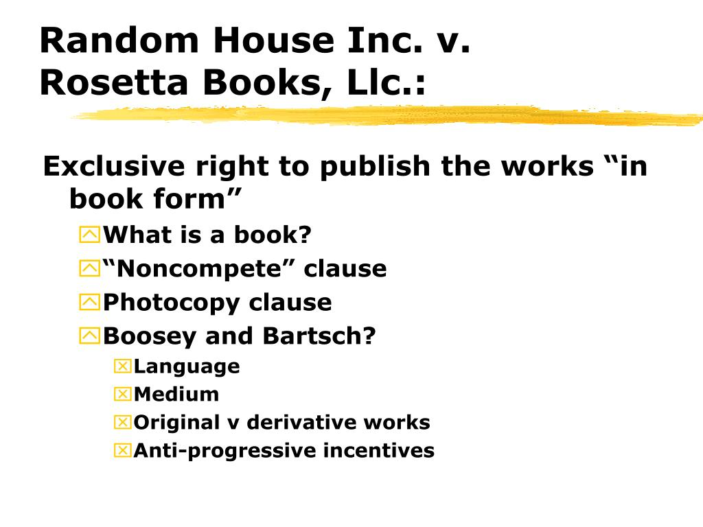 Random House Inc. v. Rosetta Books, Llc.: