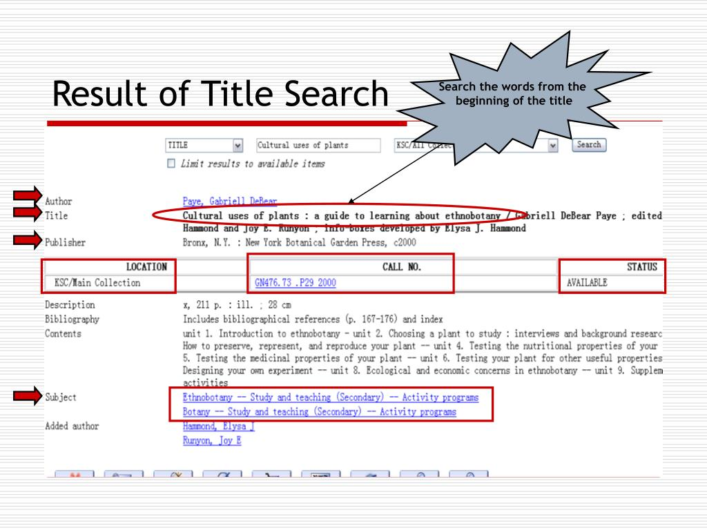Result of Title Search