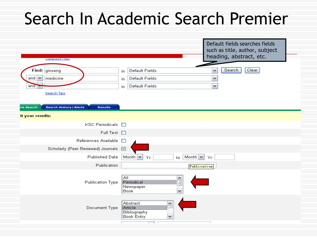 Search In Academic Search Premier