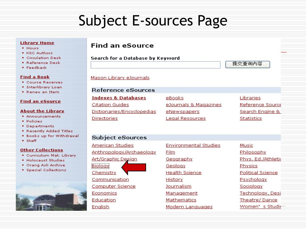 Subject E-sources Page