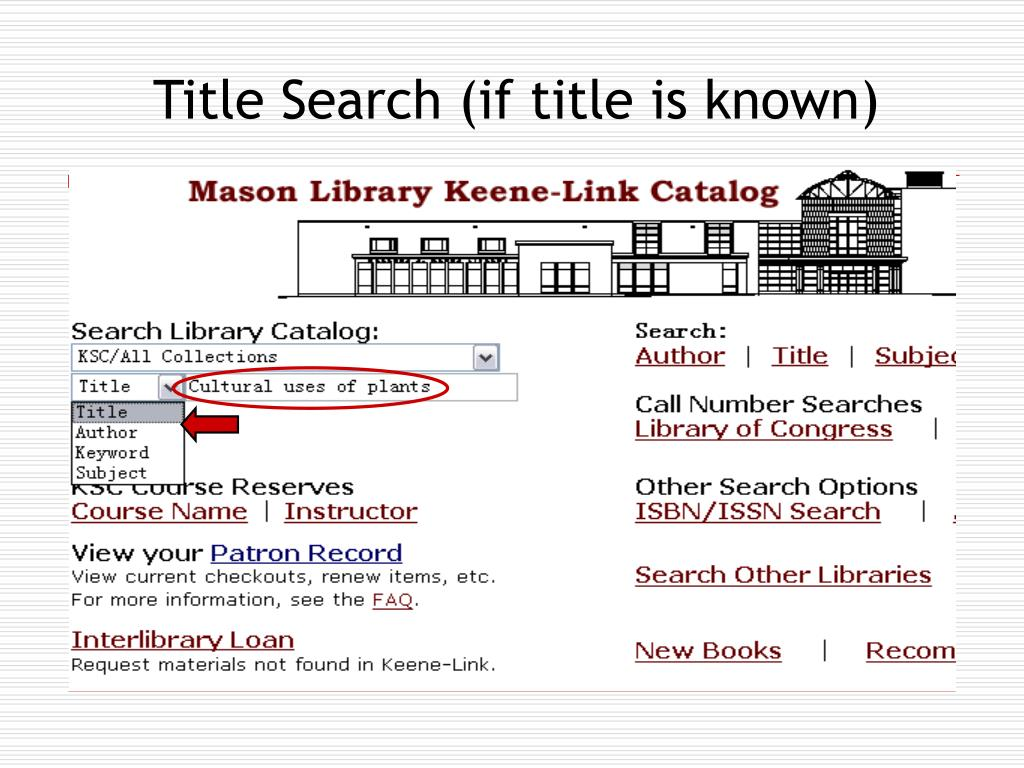 Title Search (if title is known)