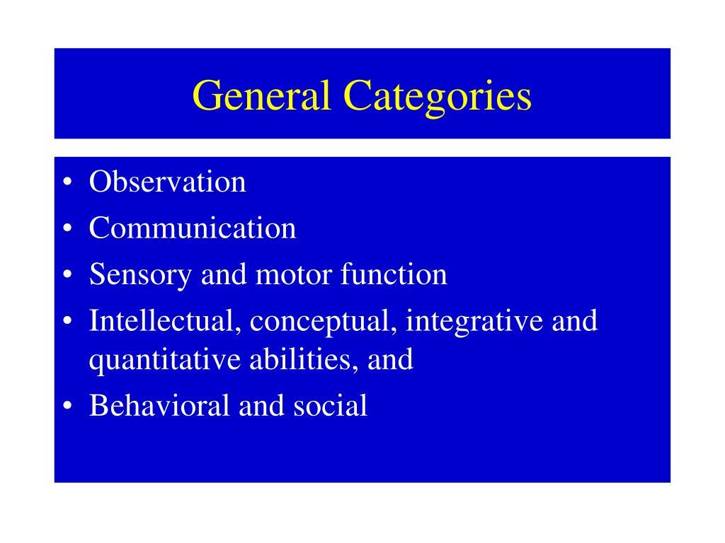 General Categories