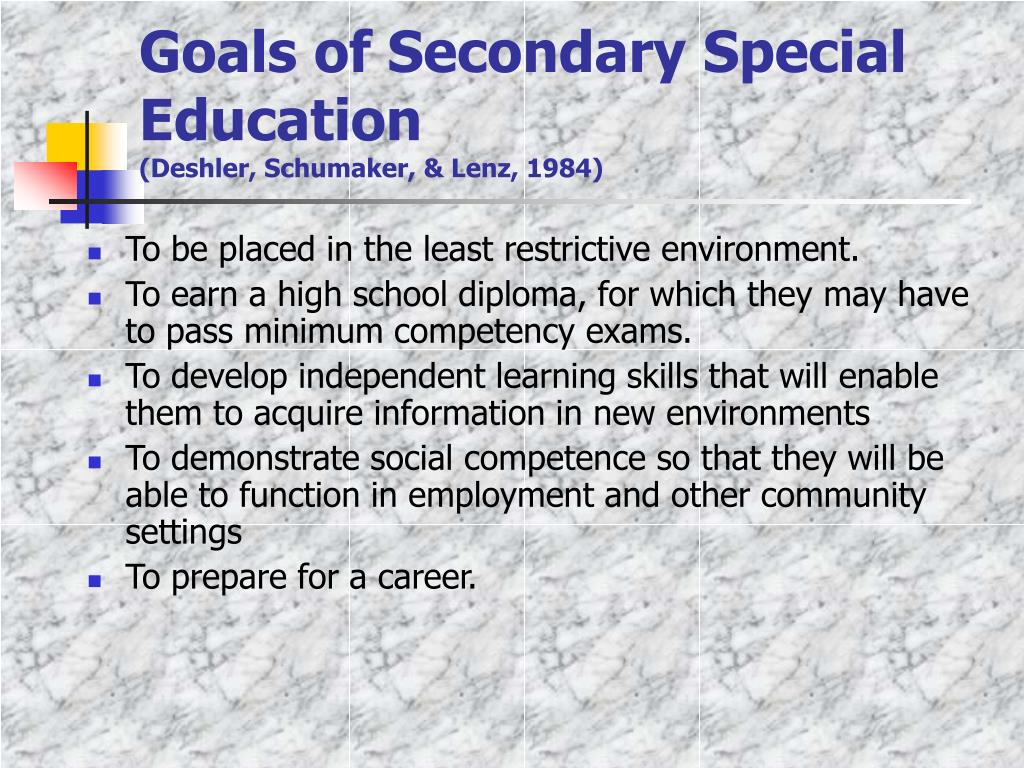 Goals of Secondary Special Education