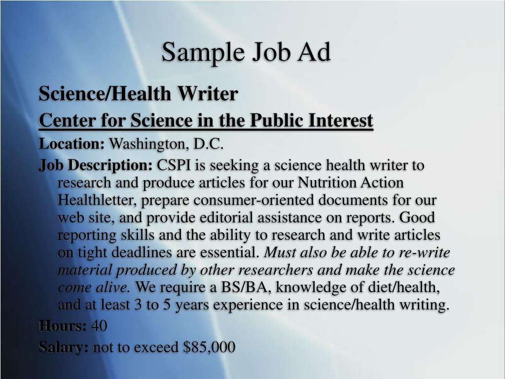 Sample Job Ad