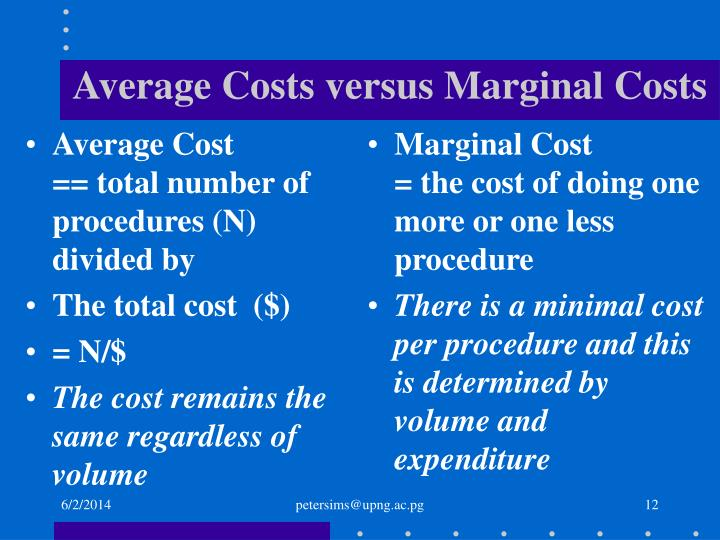 Average Cost            == total number of procedures (N)   divided by