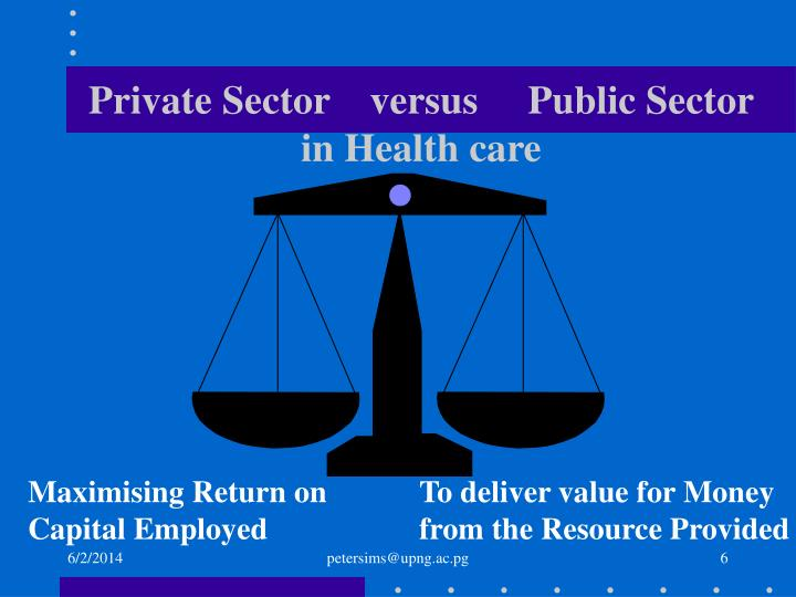 Private Sector    versus     Public Sector in Health care