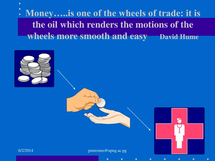 Money…..is one of the wheels of trade: it is the oil which renders the motions of the wheels more ...
