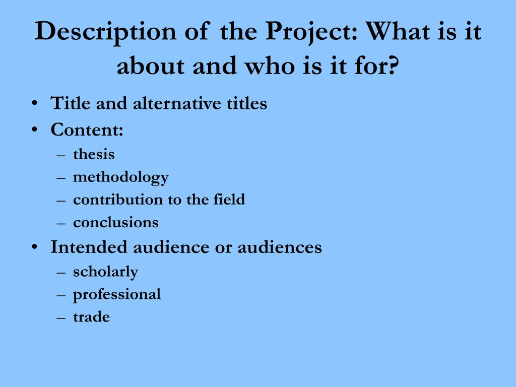 Description of the Project: What is it about and who is it for?