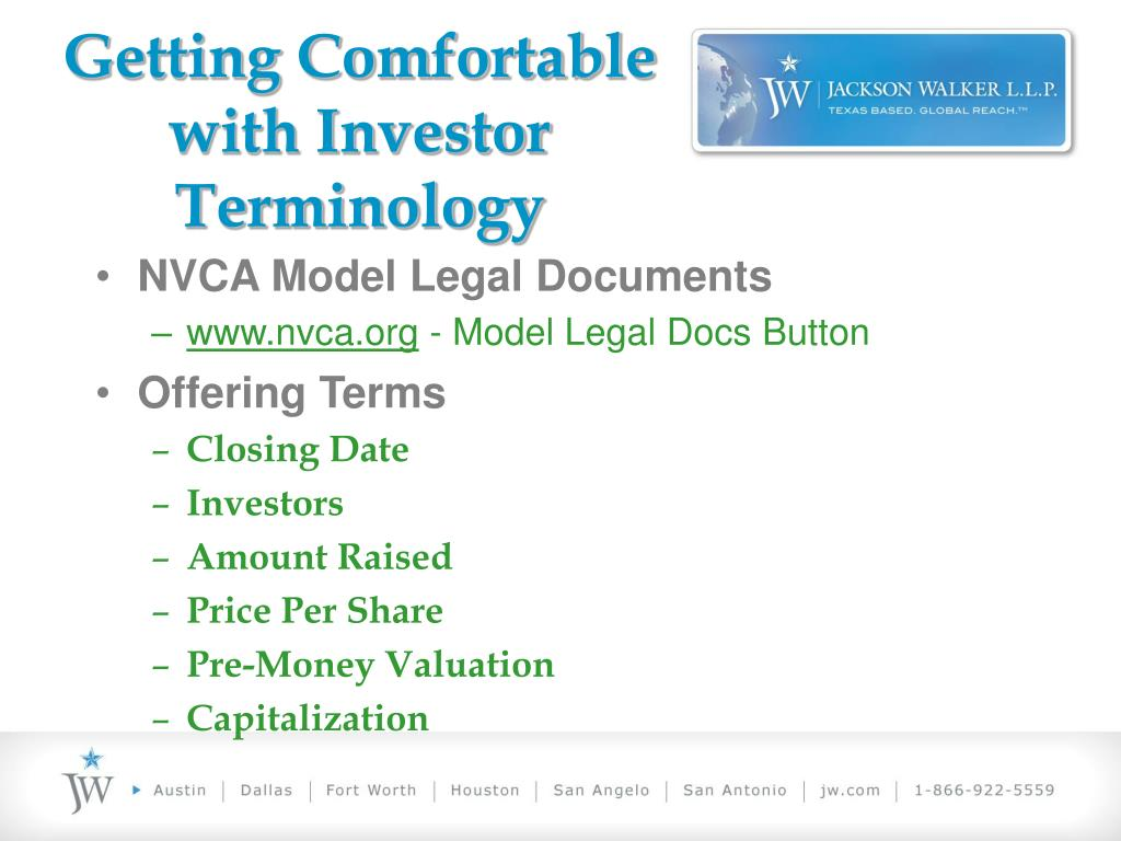 Getting Comfortable with Investor Terminology