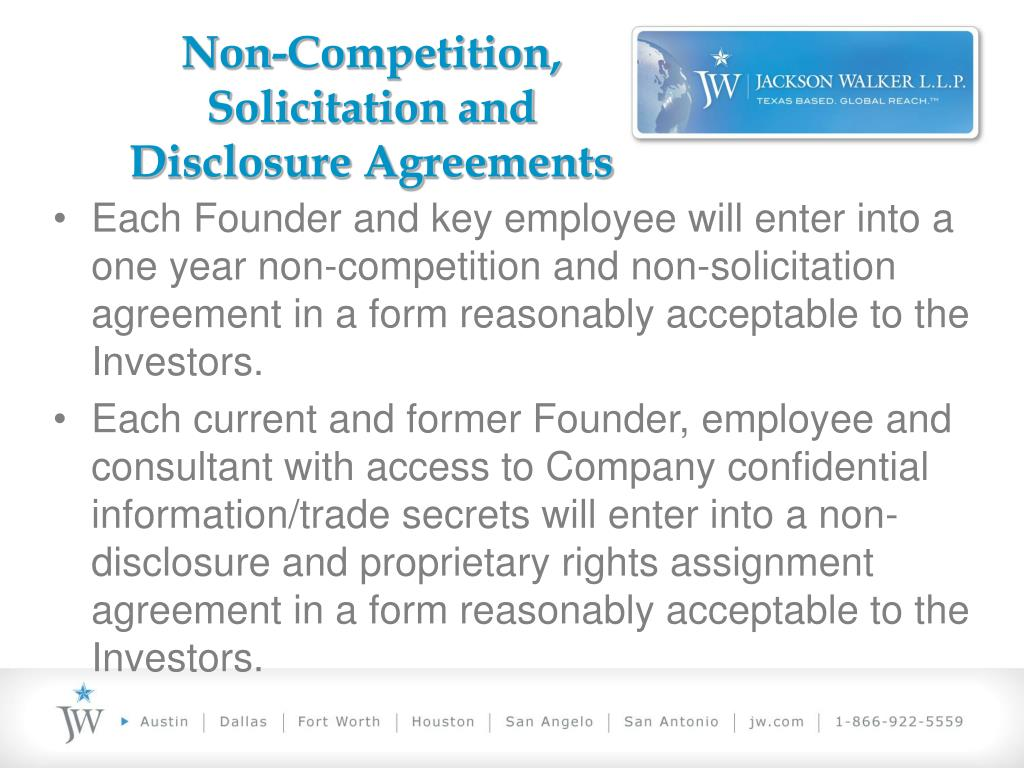Non-Competition, Solicitation and Disclosure Agreements