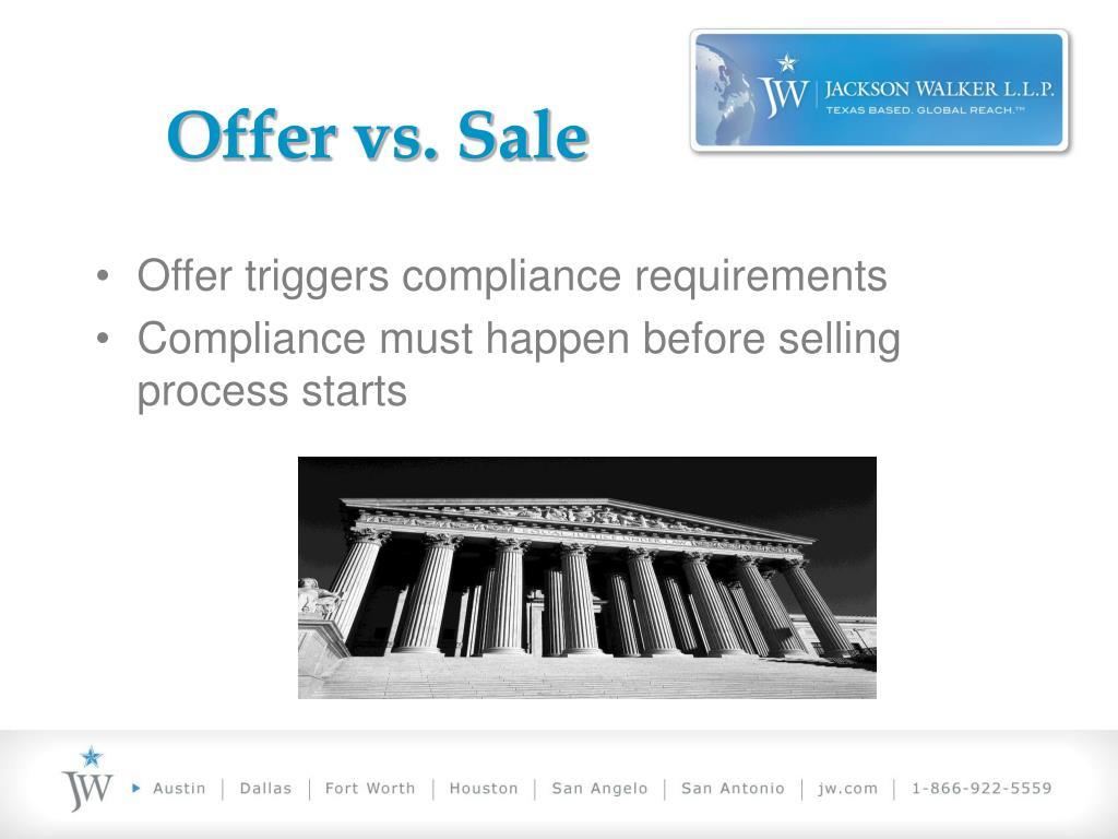 Offer vs. Sale