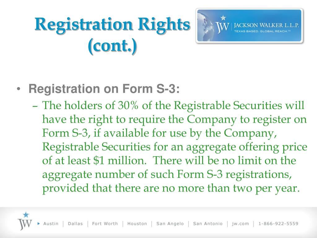 Registration Rights (cont.)