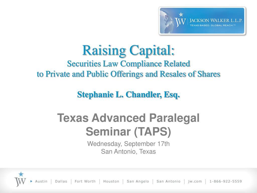 Raising Capital: