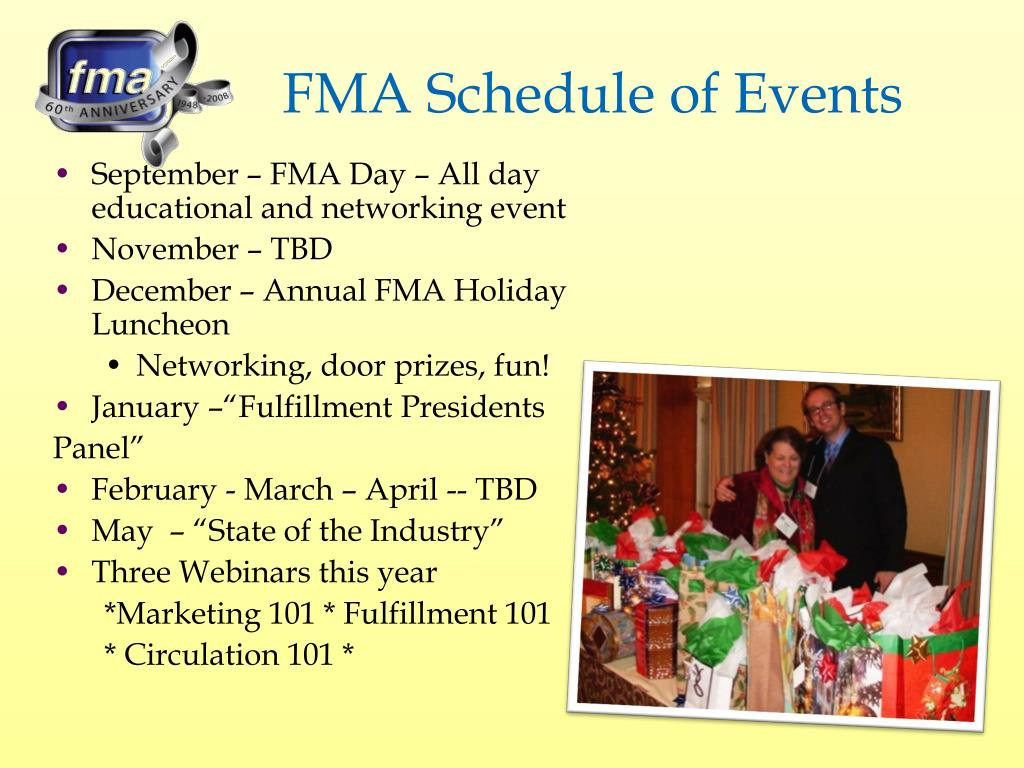 FMA Schedule of Events