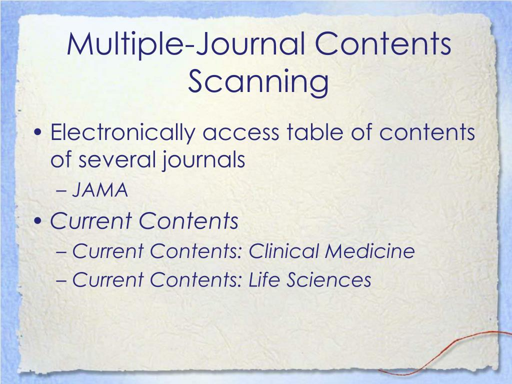 Multiple-Journal Contents Scanning