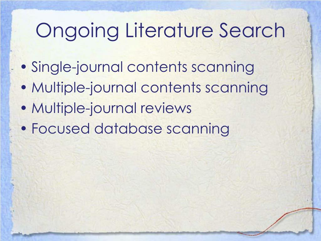 Ongoing Literature Search