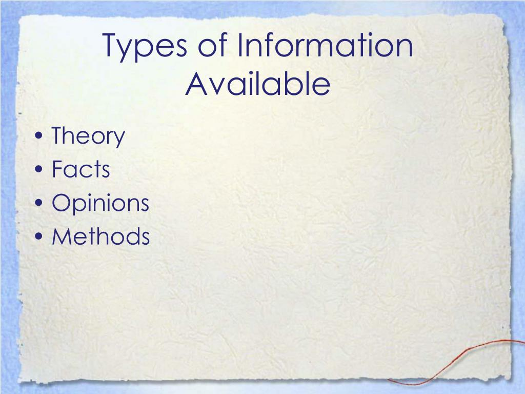 Types of Information Available