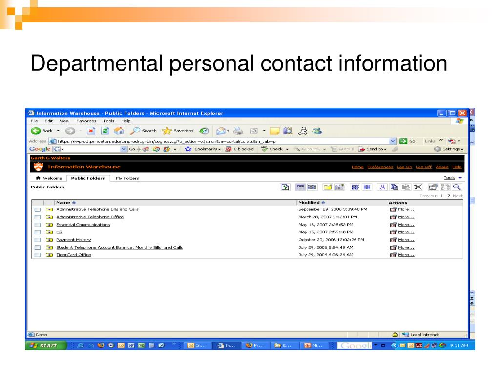 Departmental personal contact information