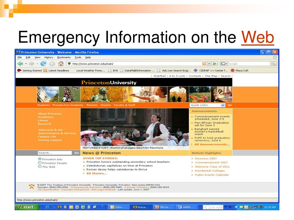 Emergency Information on the